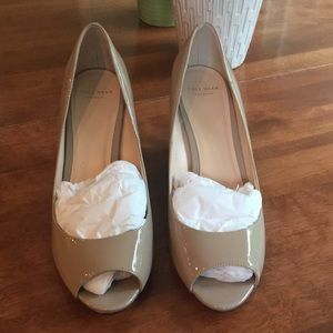Brand new Cole Haan nude patent leather wedges